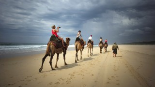 A tourist takes a picture under storm clouds during a camel safari tour alongside the Pacific Ocean on Lighthouse Beach
