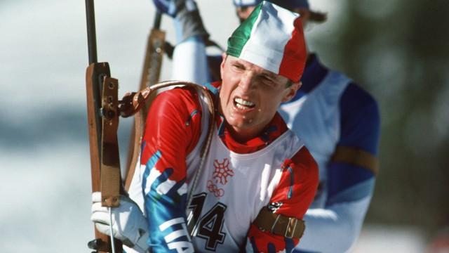 Sport. 1988 Winter Olympic Games. Calgary, Canada. Mens 20 Km Biathlon. Gottlieb Taschler, Italy.