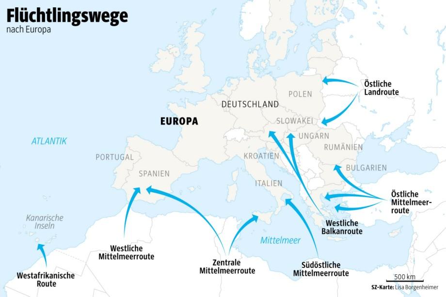 Fabelhaft Flüchtlingsrouten - So erreichen Flüchtlinge Europa - Politik &UQ_82