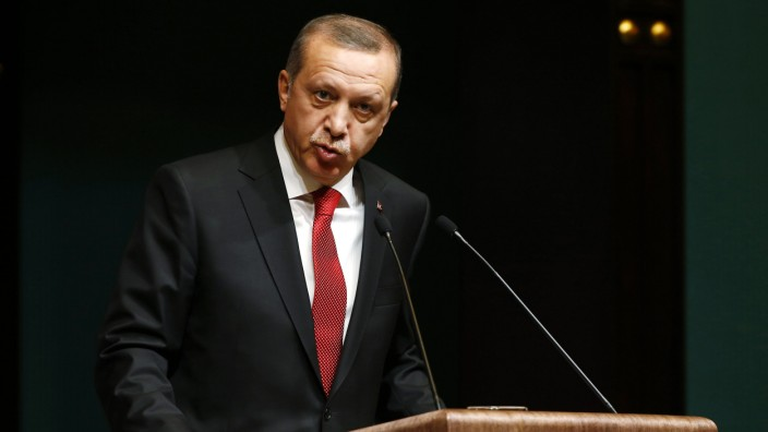 Turkey's President Erdogan addresses the media during a news conference at the Presidential Palace in Ankara