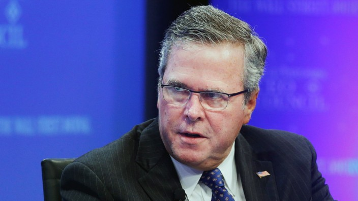 Former Florida governor Jeb Bush addresses the Wall Street Journal CEO Council in Washington
