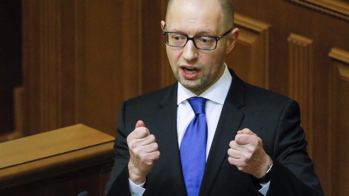 Ukrainian Prime Minister Arseniy Yatsenyuk speaks in Ukrainian Pa