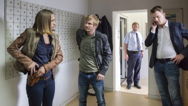"Erfurt-Tatort ""Der Maulwurf"" mit den Kommissaren Johanna Grewel (Alina Levshin), Maik Schaffert (Benjamin Kramme), Henry Funck (Friedrich Mücke, v.l.n.r.)"
