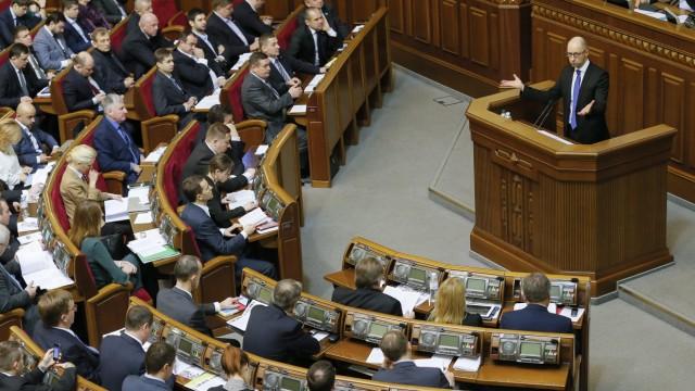 Ukrainian Prime Minister Arseniy Yatsenyuk speaks in Ukrainian Pa