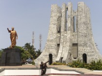 A statue of Ghana's first president Kwame Nkrumah is seen at his memorial park in Accra