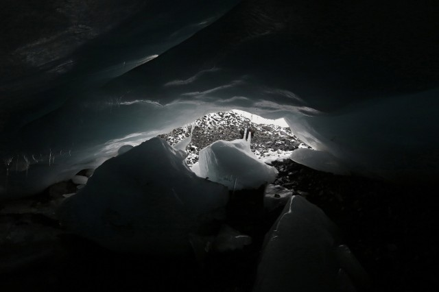 An ice cave at the leading edge of the Pastoruri glacier is seen in Huaraz