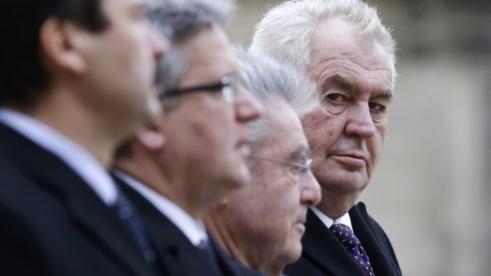 Presidents of Czech Republic Milos Zeman, Austria Heinz Fischer, Poland Bronislaw Komorowski and Hungary Janos Ader attend a welcoming ceremony of the Visegrad Group summit in Prague