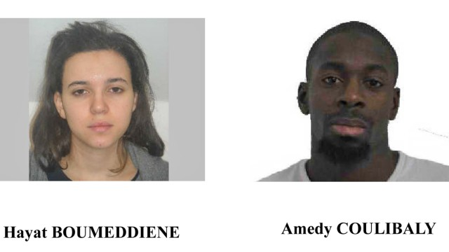 A call for witnesses released by the Paris Prefecture de Police January 9, 2015 shows the photos of Hayat Boumeddiene (L) and  Amedy Coulibaly