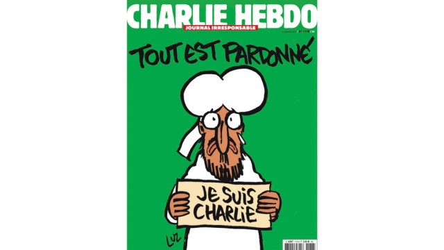 French newspaper Charlie Hebdo shows the front