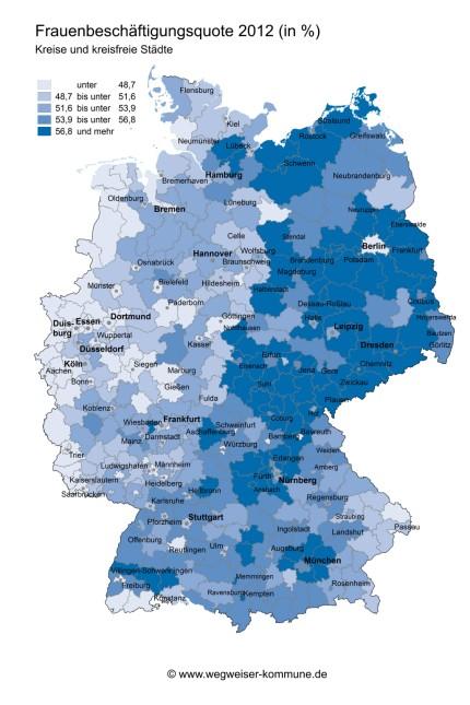 Frauenerwerbstätigenquote Deutschland 2012