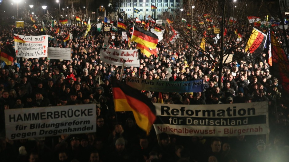 Pegida Marchers Commemorate Paris Terror Victims