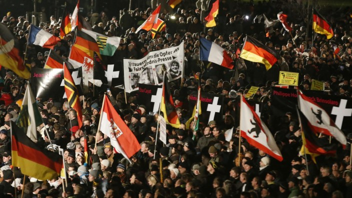 File photo shows supporters of anti-immigration movement Patriotic Europeans Against the Islamisation of the West (PEGIDA) during a demonstration in Dresden
