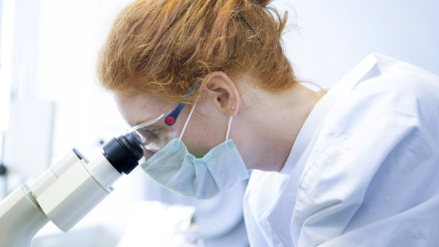 Young female natural scientist looking through microscope in biochemistry laboratory model released