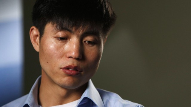 File photo of human rights activist Shin Dong-hyuk speaking during a Reuters interview in Washington