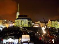 Pilsen beim Start ins Jahr als Kulturhauptstadt Europas am 17. Januar 2015.
