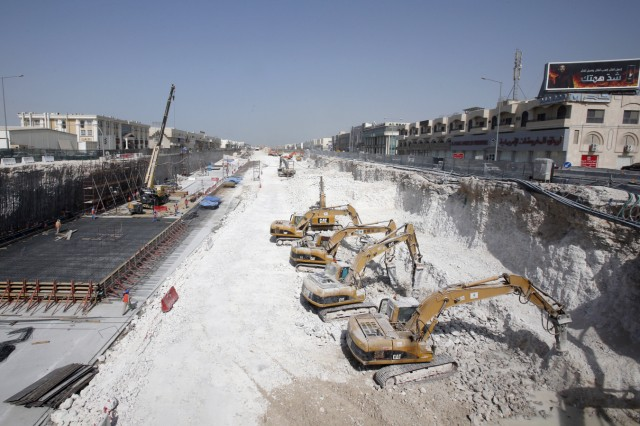 Construction bulldozers operate at a real estate construction site at Salwa Road in Doha