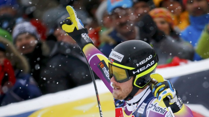 Jansrud of Norway reacts after his run in men's Alpine Skiing World Cup downhill race in Kitzbuehel