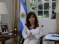 Argentina's President Fernandez addresses the nation during a televised speech in Buenos Aires