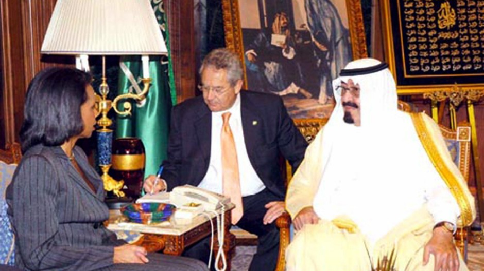 Saudi Arabia's King Abdullah talks to US Secretary of State Rice in Jeddah