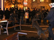 Police during a protest against the Vienna Academics Ball in Vien
