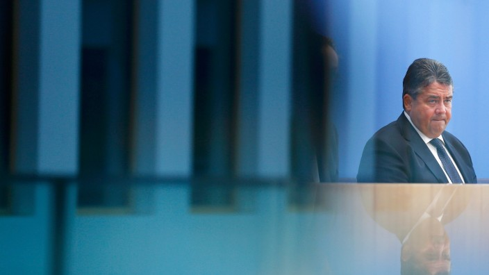 German Economy Minister Sigmar Gabriel addresses new conference in Berlin