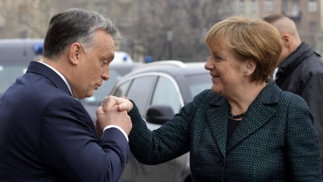 German Chancellor Angela Merkel in Budapest