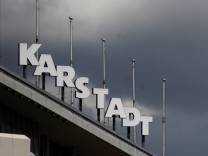 The logo of a Karstadt department store is pictured in Frankfurt