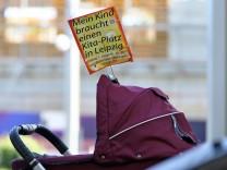Protest für Kita-Plätze in Leipzig
