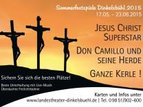 Umstritten: Die einen sehen in diesem Plakat eine Herabwürdigung der christlichen Religion, die anderen plädieren für die Freiheit der Kunst.