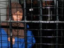 File photo of Iraqi Sajida al-Rishawi inside a military court at Juwaida prison in Amman