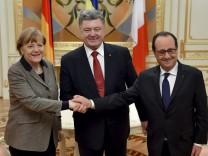 Petro Poroshenko, Francois Hollande, Angela Merkel