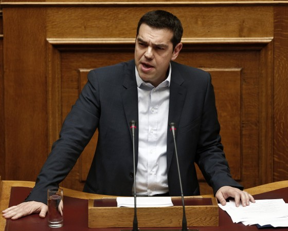 Greek Prime Minister Tsipras delivers his first major speech in parliament in Athens