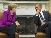 U.S. President Obama meets with German Chancellor Merkel at the White House in Washington