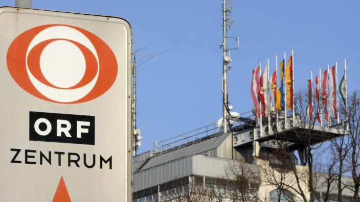The logo of Austrian broadcaster ORF is pictured in front of its headquarters in Vienna