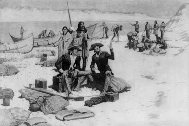 Lewis and Clark at the mouth of the Columbia River]