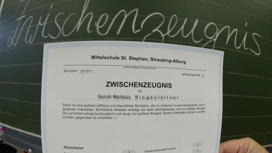 Zwischenzeugnisse in Bayern