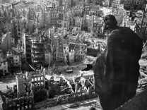 A photo taken from Dresden's townhall of the destroyed old town of the historic city after the allied bombings in February 1945.