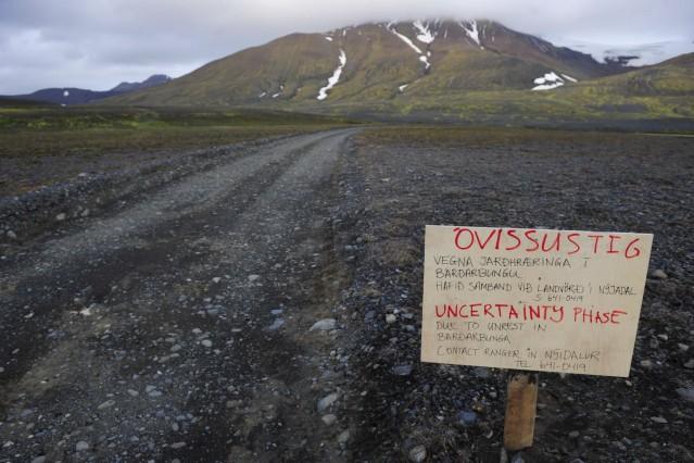 Warning sign blocks  road to Bardarbunga volcano in north-west region of Vatnajokull glacier