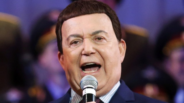 File photo of Iosif Kobzon, a Russian singer and a deputy of the State Duma, singing during a concert, in Donetsk