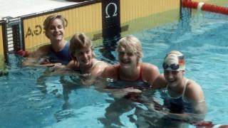 Spiele der Freundschaft in Moskau, Schwimmen, 4 x 100m Freistil Staffel Frauen, v.li.: Kristin Otto,