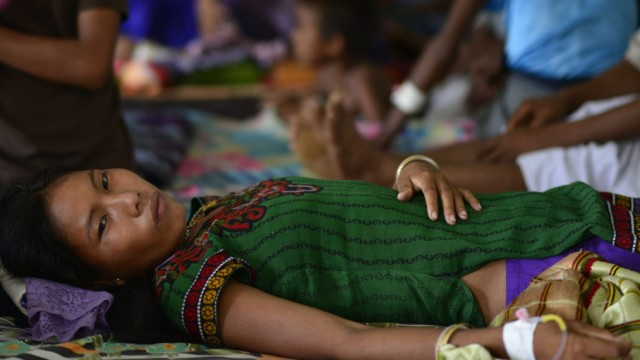 Patients undergo treatment for Malaria in India