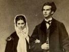 Sophie Charlotte und König Ludwig II  - Verlobungsbild 1867 - Fotograf Joseph Al
