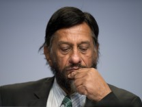 File photo of IPCC Working Group III Chairman Pachauri attending a news conference to present Working Group III's summary for policymakers at the IPCC in Berlin