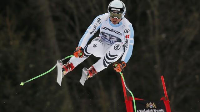 Sander from Germany speeds down during the last men's downhill training run of the Alpine Skiing World Cup in Garmisch-Partenkirchen