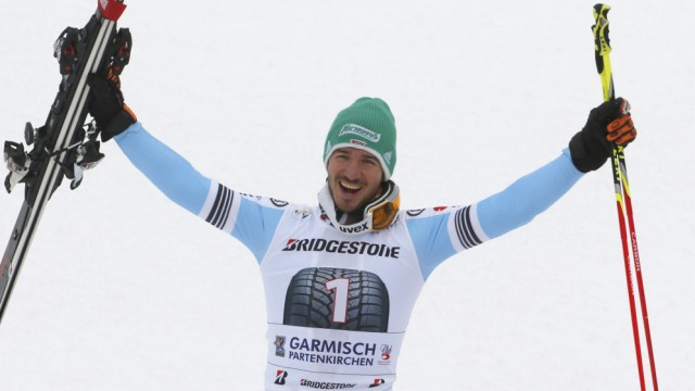Neureuther of Germany celebrates after men's Alpine Skiing World Cup giant slalom in Garmisch-Partenkirchen