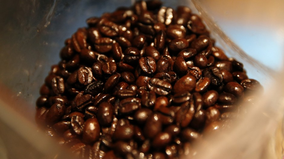 Venezuelan coffee beans are seen in a roaster in Caracas