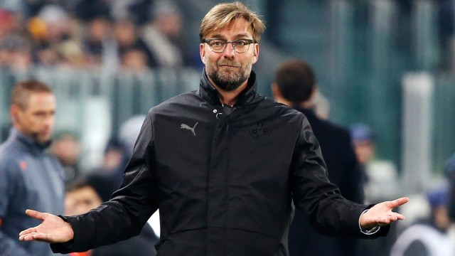 Borussia Dortmund's coach Klopp reacts during their Champions League round of 16 first leg soccer match against Juventus at the Juventus stadium in Turin