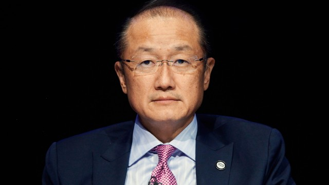 World Bank President Jim Yong Kim speaks on a panel during the IMF-World Bank annual meetings in Washington