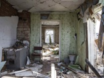 A house which was damaged by fighting is seen in the town of Debaltseve