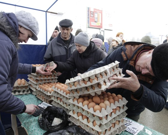 Customers visit a food market in Stavropol